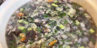 De paarse regenboogwortels kleurden de soep helemaal paars. (Foto Erik van Huizen)