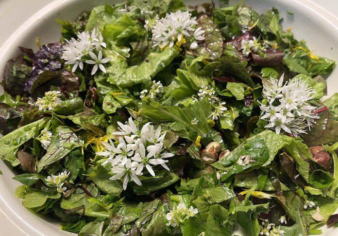 Maak de salade helemaal af met wat verschillende bloemetjes. (Foto Erik van Huizen)