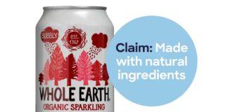 'Made with natural ingredients', claimt Whole Earth ColaClaim. Dde Consumentenbond denkt daar anders over. 'De verpakking wekt zowat de indruk dat er een rivier is waar cola doorheen stroomt. Met daarin agavesiroop, citroensap uit concentraat, gerstemoutextract en cola-aroma. Voor de meeste consumenten is een link tussen 'natuurlijk' en 'frisdrank' ver te zoeken.' (Afbeelding Consumentenbond)