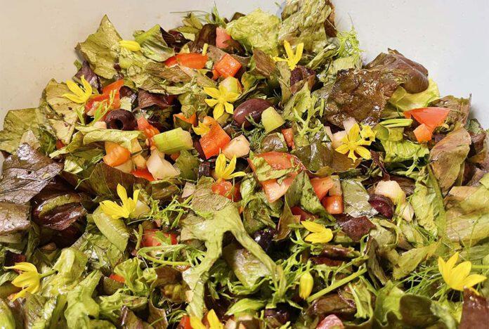 Met de bloemetjes van de goudlook kan je deze salade mooi 'oppimpen'. (Foto Erik van Huizen)
